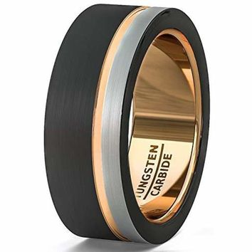 Men's Black Tungsten Wedding Ring With White and Thin Side Rose Gold Groove Flat Edge - 8mm