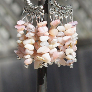 Pink Opal Earrings ~ Natural Opal Stone Chandelier Earrings ~ Pink Stones ~ Birthday Gift ~ Bohemian Jewelry ~ Boho Style ~ Anniversary