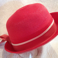 Vintage Red Straw Hat with Red and White Ribbon