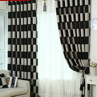 European Brief Pattern Plaid Blackout/Sheer Window Curtains For living Room/Kitchen/ Hotel Window Treatment/Drapes