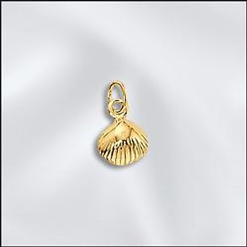 CL-JW/CR1/SS/G - Gold Plated Sea Shell Charms, 10x7mm | Pkg 4