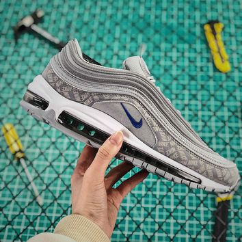 Nike Air Max 97 Wolf Grey Game Royal Reflective Logo Sport Running Shoes - Best Online Sale