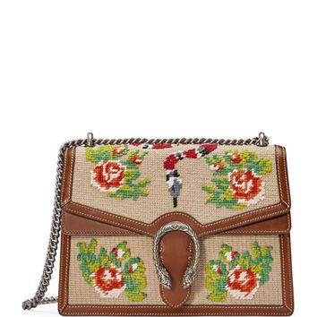 Gucci Embroidered Chain Shoulder Bag, Brown