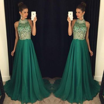 Free shipping Crystal Collar Beading Top A-line Floor Length  Dark Green Chiffon Women Formal Gown Evening Dresses 2017 For Sale