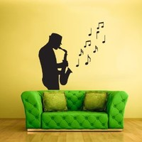 Wall Decal Vinyl Sticker Decals Sax Saxophone Musican Jazz Man Music Notes (Z1986)