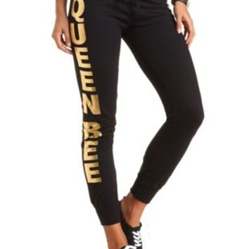 Queen Bee Graphic Skinny Sweatpants by Charlotte Russe - Black Combo