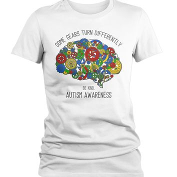Women's Autism Shirt Autism Brain Shirts Some Gears Turn Differently Graphic Tee Autism Awareness TShirt