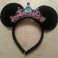 Gorgeous Minnie Mouse Ear Headband with Custom PURPLE Jewel crown Princess Crown