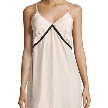Sleeveless Two-Tone Chemise, Champagne/Black, Size: