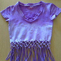 Purple and white dip dyed braided Tshirt summer by WhinnieCruskit