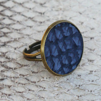 Blue salmon leather ring, organically dyed salmon leather ring, fish leather ring, BerlinGlam design ring