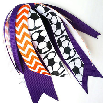 Purple and orange soccer hair streamers, custom team hair bows chevron ponytail ribbon, soccer ribbon hair tie, football futbol handball