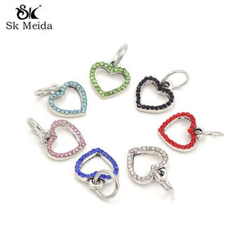 30pcs Mix Color Rhinestone Charms Heart For Bracelet Necklace Making 13mm Jewelry Pendants AGC-79