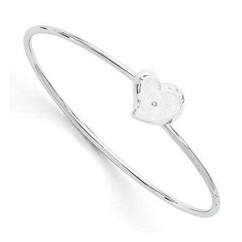 Rhodium Plated Sterling Silver & Diamond Offset Heart Bangle Bracelet