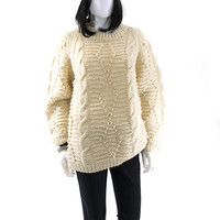 Handmade Sweater Vintage Ivory Cable Knit  Handknit Winter Chunky Wool Campfire Sweater