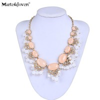Marte&Joven Lovely Bead Tassel Chokers Necklace for Women Luxury Pink/Blue Oval Pendant Gold Color Chain Statement Necklaces