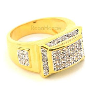 Men's Iced Out Hip Hop Lab Diamond Migos Brass Ring Size 8 12 Br001g
