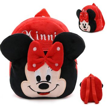 New Cartoon Minnie Mickey Backpacks for Kids Girls Plush Adjustable Schoolbags Small Soft Toy Knapsack for Children 23*21*9cm