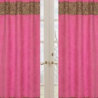 Cheetah Girl Pink and Brown Window Treatment Panels by Sweet Jojo Designs - Set of 2