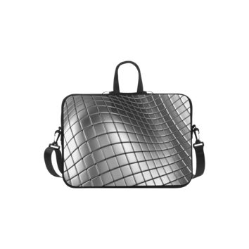 Personalized Laptop Shoulder Bag 3D Silver Chrome Cubes Handbags 13 Inch