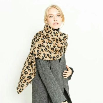 animal leopard print winter warm  blanket scarf shawl