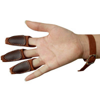 Archery Target Shooting Protective 3-Finger Guard Hunting Hand Protector Gear  Glove Cow Leather Safety