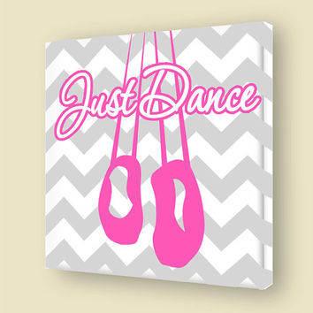 Just Dance Canvas Wall Art Girls Room Ballet Shoes Stretched Canvas Ballerina Dancing Room Decor VWAQ-A149