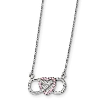 925 Sterling Silver Rhodium-Plated with CZ Heart with Infinity Symbol Necklace 16 Inch