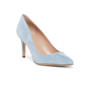 Suede Pump in Light Blue