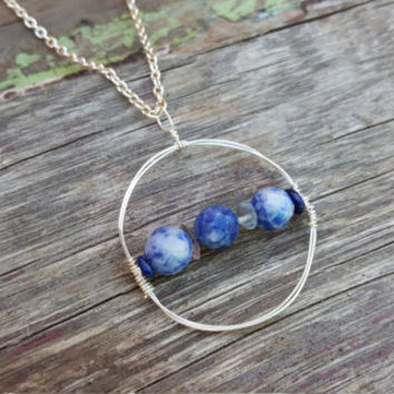 The Compass | Elegant Round Sodalite Necklace | Geometric Jewelry | Sterling Silver Wire Stone Circle Bar Necklace | Lapis Stone Jewelry