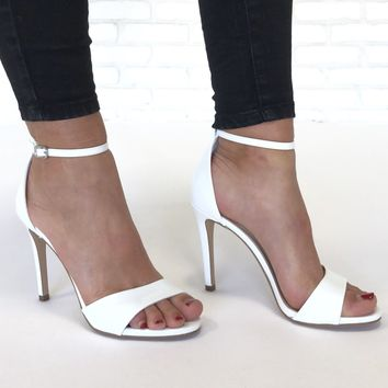 Best For Last White Ankle Strap Heels