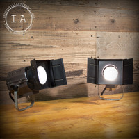 PAIR of Vintage Industrial Retro Movie Lights Accent Theater Theatrical Stage Wall Lamps Surface Mount
