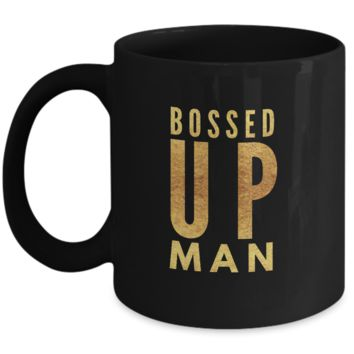 Bossed Up Man Black Ceramic Coffee Mug