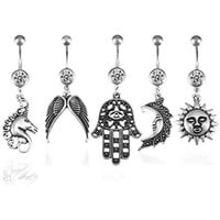 BodyJ4You Belly Button Ring Sun Hamsa Lot of 5 Dangle Set Crystal Clear Piercing Jewelry 14G