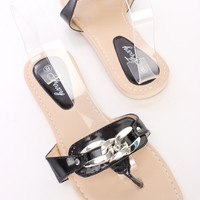 Black Chain Detail Thong Sandals Faux Leather