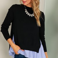 Layered Slit Sweater Black