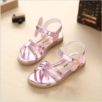 Children Sandals Girls Princess Shoes  Summer Diamond Bow Fashion Baby Girls Shoes Kids Dance Performance Single Girl Sandal