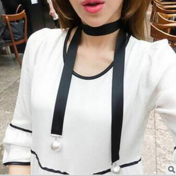 European Fashion Punk Long Necklace Black Wide Suede Fabric Chokers Necklace With Simulated Pearl Gothic Women Choker collar