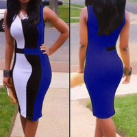 Blue Color Block Sleeveless Midi Dress