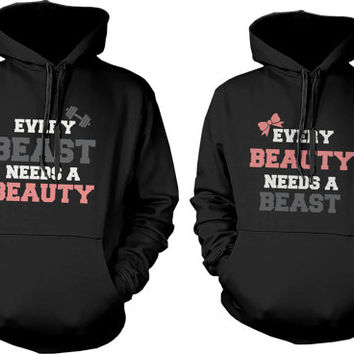 Matching Couples Hoodies - Beauty Needs Beast Hooded Sweatshirts Cute Hoodies for Couples. Browning, Disney Mickey and Minnie Inspired