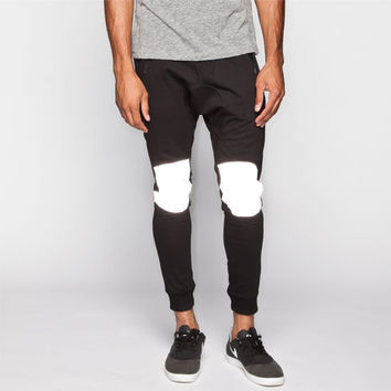 Uncle Ralph Reflective Knee Mens Jogger Pants Black  In Sizes