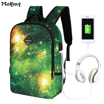 New USB Headset Charging Men Backpack 16 inch Anti Theft Laptop Backpacks ForTeenagers Print Women Mochila 2018 Universe Space