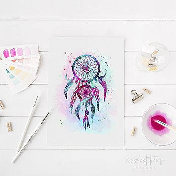 Dreamcatcher Watercolor Art Print