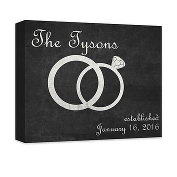 Personalized Family Established with Wedding Rings Canvas Wall Art