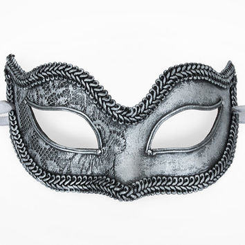 Handpainted Aged Silver Masquerade Mask In Steampunk Look  - Venetian Style Lace Covered Black and Silver Masquerade Ball Mask