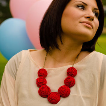Red rosette bib necklace, wedding statement necklace, bridesmaids, party favors lovely fabric necklace