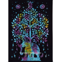 Small Size Multicolor Elephant  Tree Fabric Cloth Tapestry Wall Hanging on RoyalFurnish.com