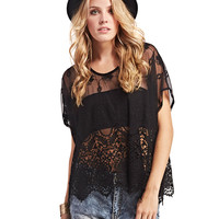Oversized Boho Crochet Blouse | Wet Seal