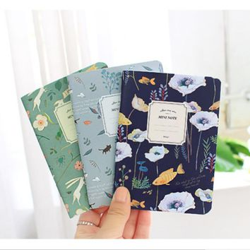 Free Shipping Cute Mini Vintage Flower Notebook Journal Lovely Animal Diary Book Writing Pads For Kids School Supplies 1010