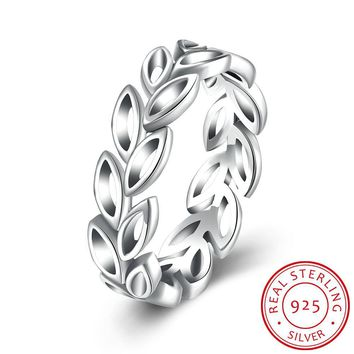 Ring Sterling Silver Olive Branch Hollow Ring